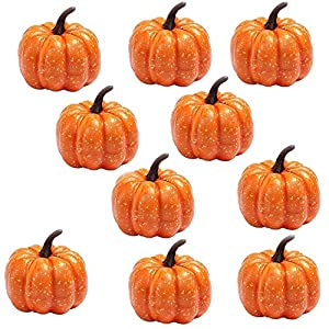 EORTA 10 Pack Decorative Pumpkins Mini Artificial Pumpkins Orange Foam Halloween Props Small Hand Toys for Kids to Play, Home, Party, Shop Decor 118