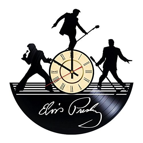 Fun Door Elvis Presley King Handmade Vinyl Record Wall Clock for Birthday Wedding Anniversary Valentine's Mother's Ideas for Men and Women him and -