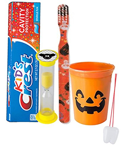 Happy Halloween Inspired Trick Or Treat 4pc Bright Smile Oral Hygiene Set! Soft Manual Toothbrush, Toothpaste & Mouthwash Rinse Cup! Plus Bonus