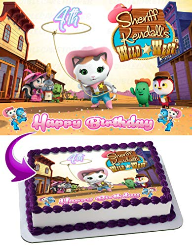 Sheriff Callie Wild West Disney Edible Cake Image Topper Personalized Birthday 1/4 Sheet Custom Sheet Party Birthday Sugar Frosting Transfer Fondant Image ~ Best Quality Edible Image for cake]()