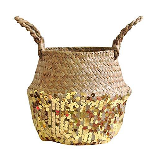 (Birdfly Garden Seagrass Wicker Basket Flower Pot Folding Basket Dirty Basket Storage Decoration)