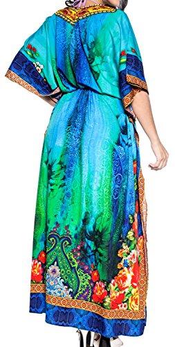 Aloha Costumi Rayon Maxi Leela Beachwear Caftano La Delle Donne Mano Abito Da Bagno v565 Multicolore Nightwear wqXUwY5
