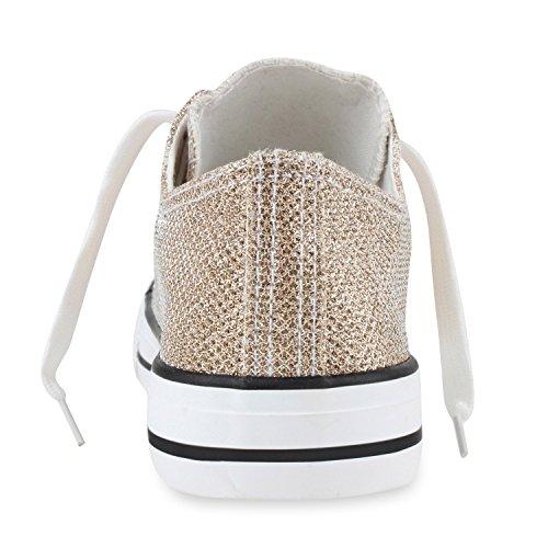 Stiefelparadies Damen Sneakers Spitze Sneaker Stoffschuhe Sportschuhe Basic Freizeit Schuhe Flandell Gold Glitzer