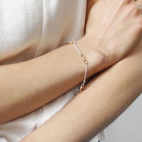 Dower & Hall entrelacés plaqué or jaune bracelet Triple Infinity Chaîne en Argent Sterling de 18,5cm