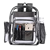 Clear Transparent PVC School Backpack, Heavy Duty Clear Backpack with Laptop Compartment for Work, Security, Sporting Events
