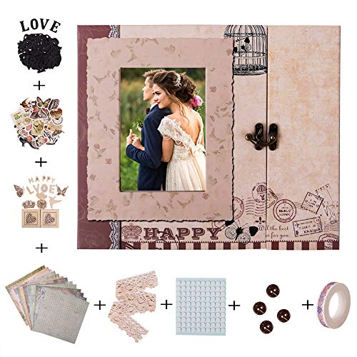 FaCraft Scrapbooking Kit,Wedding Scrapbook Kit with Protecters Pockets for Pages ()