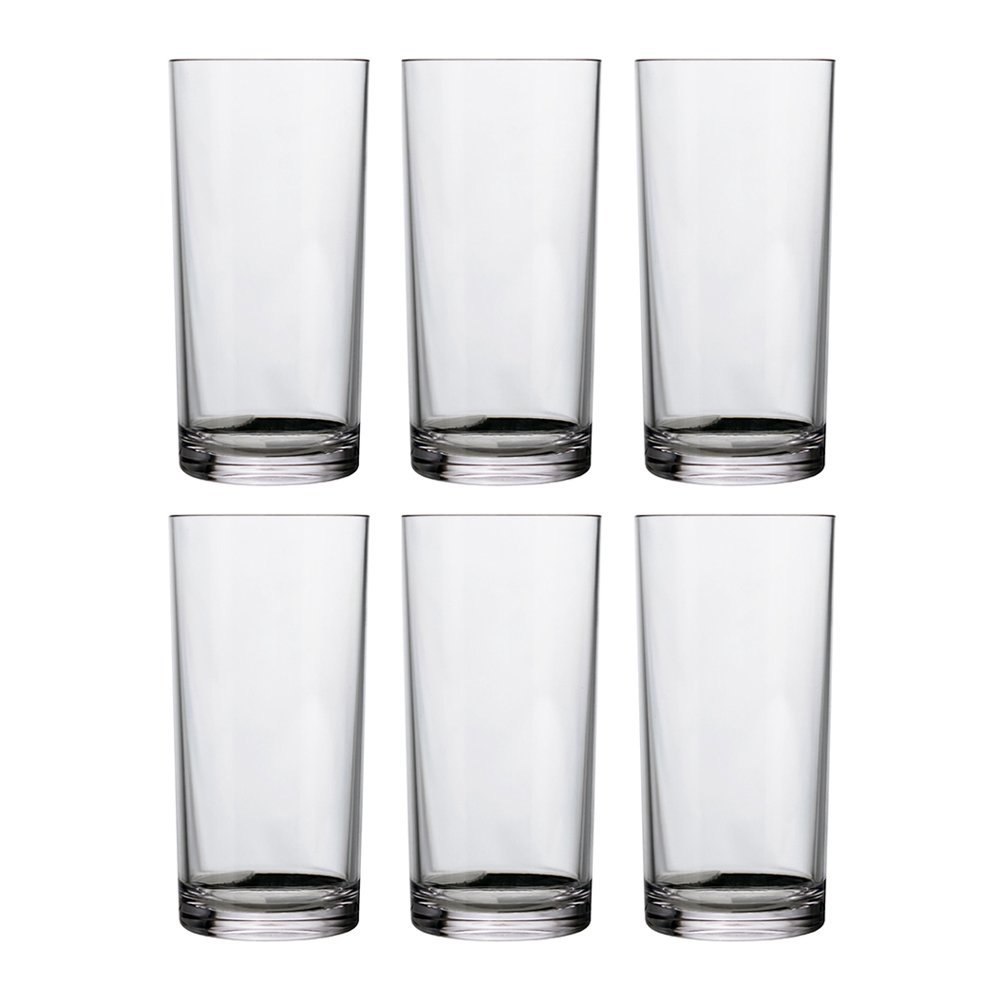 Classic 16-ounce Premium Quality Plastic Water Tumbler | Clear Set of 6 by US Acrylic