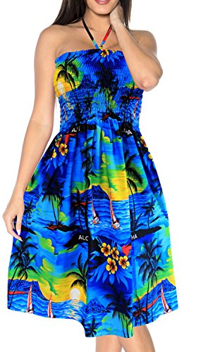 LA LEELA Soft  Printed Womens Work Casual Stretchy Tube Dress Blue 1742 One Size