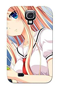 Galaxy S4 Case Cover - Slim Fit Tpu Protector Shock Absorbent Case (gensou No Idea Blonde Hair Blue Eyes Book Bow Gamegensou No Idea Kujou Mitsuki Seifuku )