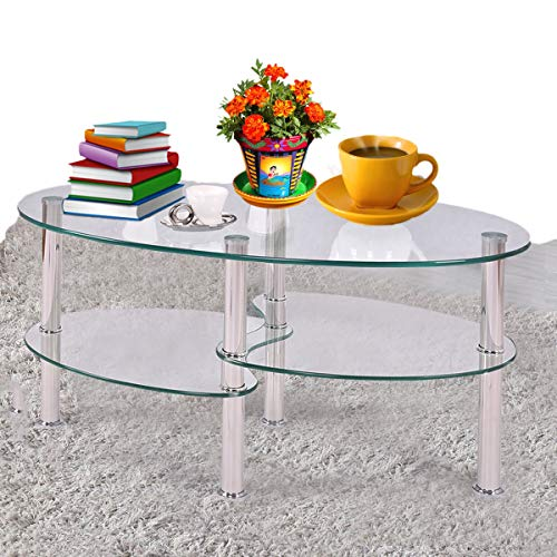Prettyshop4246 Fishtail Style Tempered Glass Coffee Tea Table Living Room Home Office Hotel Indoor Outdoor 3 Tiers Sturdy Strong Glasses Top Table Clear Glass Color