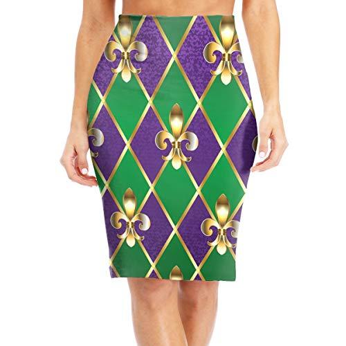Fleur De Lis Mardi Gras Womens Elastic Waist Band Slim Fit Bodycon Pencil Midi Skirt