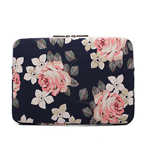 ee6c50287354 canvaslife White Rose Pattern 13 inch Canvas Laptop Sleeve with ...