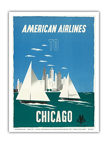 Vintage American Airlines (Chicago, Illinois USA - The Windy City, Sailboats, Lake Michigan - American Airlines - Vintage Airline Travel Poster by Edward McKnight-Kauffer c.1948 - Master Art Print - 9in x)
