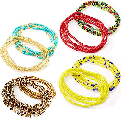 Tuoshei 8 Piece Summer Jewelry Waist Bead Set, Colorful Waist Bead, Belly Bead, African Waist Bead, Body Chain, Beaded Belly Chain, Bikini Jewelry for Woman Girl (style 1) ()