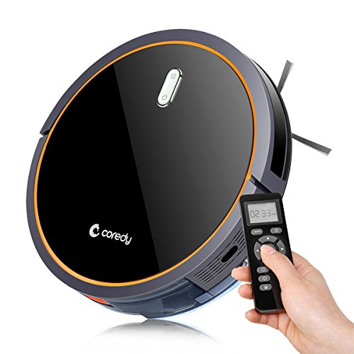 Coredy Robot Vacuum Cleaner with Mop and Water Tank (All New Upgraded), 1400pa High Suction, Ultra Slim, Super Quiet, Self-Charging Robotic Vacuum, Cleans Hard Floors and Medium-Pile Carpets