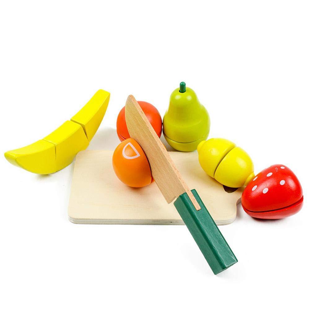 26 pcs Jeu dimitation de Cuisine en Bois Jouet /à Couper Seau de Fruits et l/égumes