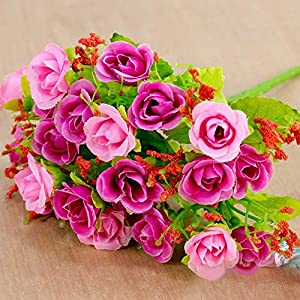 MARJON Flowers1 Bouquet 21 Head Plastic Rose -DIY Silk Flower Wedding Bouquet Office Home Valentine's Day Decor (Rose Red) 97