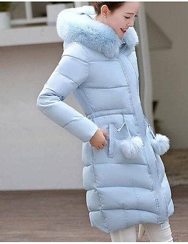 Out Coat Going Casual Street Long Polypropylene Sleeves Women'S Padded L Blue Chic Daily ZHUDJ Long Cute Others Solid Simple tzC8vqw