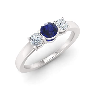 Diamondere Natural and Certified Blue Sapphire and Diamond Engagement Ring in 14K White Gold | 0.51