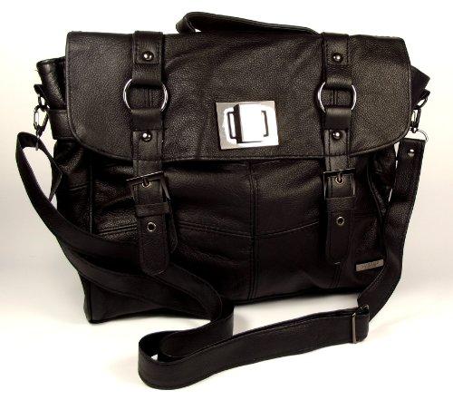 Lorenz - Bolso estilo cartera de cuero para mujer negro negro Large (Large UK)