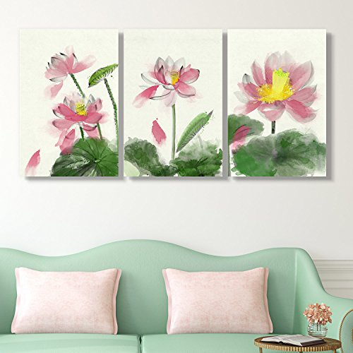 3 Panel Watercolor Painting Style Colorful Lotus Flower and Leaves x 3 Panels