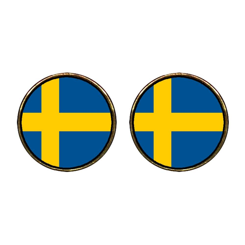 GiftJewelryShop Gold Plated Sweden flag Photo Stud Earrings 12mm Diameter