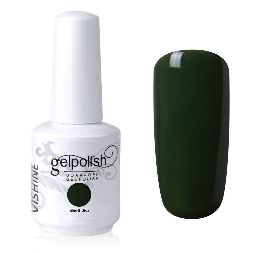 Vishine Gelpolish Lacquer Shiny Color Soak Off UV LED Gel Nail Polish Professional Manicure Dark Olivedrab(1545)