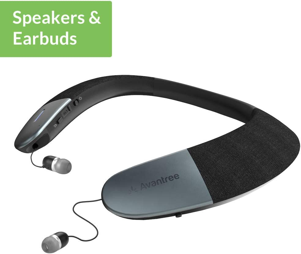 Avantree Wearable Wireless Speaker, Bluetooth 5.0, aptX HD, Low Latency, Personal Neckband Speakers with Retractable Earbuds, Superb Audio Quality, 3D Surround Stereo for Music TV Calls - Torus (NB05)
