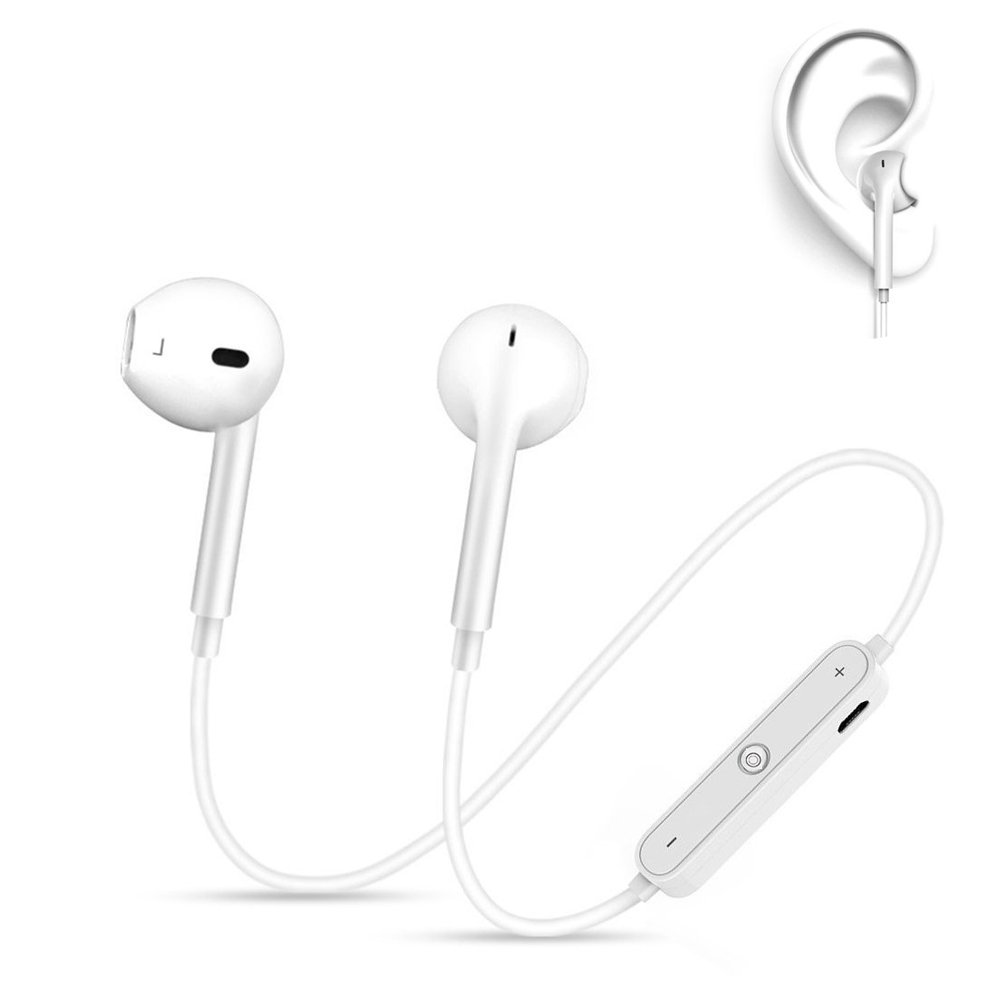 Zsjijia Wireless Sports Bluetooth Headphones, Sports Waterproof Headphones with microphone for Running Workout Comfortable Headphones,Bluetooth earphone (White)