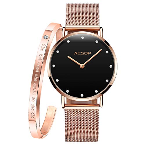 Aesop Women Ultra Thin Watches & Bangle Bracelet Set for Female Lady Rose Gold Tone Mesh Milan Stainless Steel Band Crystal Dial Business Casual Slim Analog Quartz Wristwatch Waterproof Classic Gifts