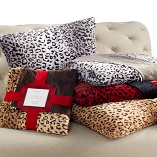 Charter Club Faux Fur Animal Print Throw 50'' x 60'', Red/Black by Charter Club