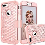 iPhone 7 Plus Shockproof Case,iPhone 8 Plus Bling Glitter Case,Gostyle Fashion 3 in 1 Hybrid Hard Plastic Soft Silicone Crystal Diamond Full Protection Anti-Scratch Anti-Drop Cover,Rose Gold