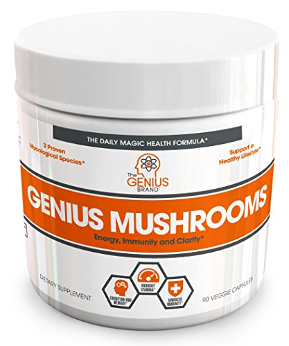 - Genius Mushroom – Lions Mane, Cordyceps and Reishi – Immune System Booster & Nootropic Brain Supplement – Wellness Formula for Natural Energy, Stress Relief, Memory & Liver Support, 90 Veggie Pills