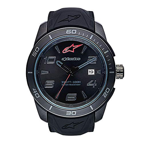 Alpinestars Tech Watch | Men's Analog Watches | 45 MM Stainless Steel case | 100 Meters Water Resistant | Japanese Quartz Movement | Integrated Silicone Wristband (All Black)