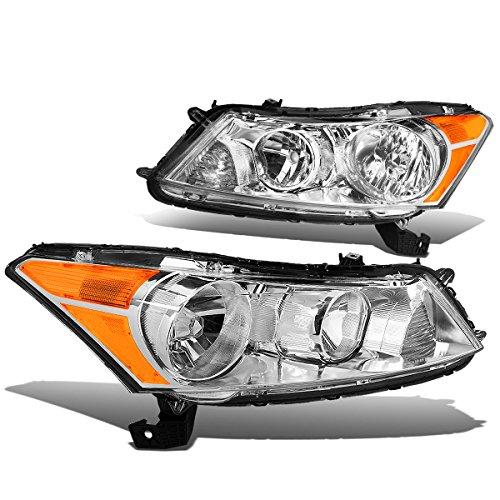 (For Honda Accord 8th Gen CP2/CP3 Sedan Pair of Chrome Housing Amber Corner Headlights)