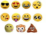 Set of 4 Emoji Pillows 12.5 Inch Large Yellow Smiley Emoticon - Random Set of 4.