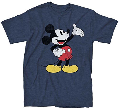 Mickey Mouse Costumes T-shirt (Disney Mickey Mouse Wave Men's T-shirt (XX-Large, Navy Heather))