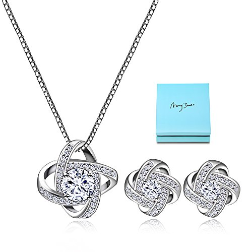 AMYJANE Bridal Jewelry Set for Women - Silver Crystal Cubic Zirconia Love Knot Necklace Stud Earrings Elegant CZ Jewelry Set for Wedding Bride Bridesmaids Valentine's Day Gift Set by - Tiffany Knot Ring