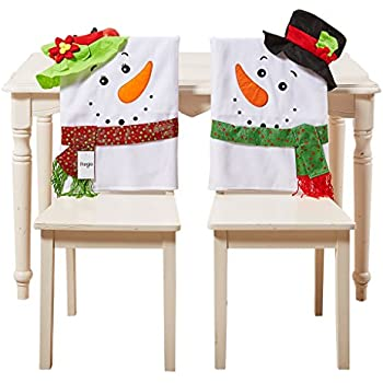 Christmas Decorations Santa Claus Hat Chair Back Covers Set Of 2 Slipcovers