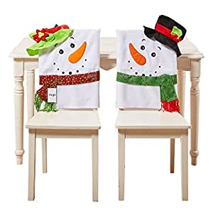 christmas dining room chair covers | Amazon.com: Christmas Decorations Santa Claus Hat Chair ...