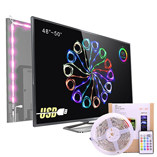Bias Lighting for HDTV USB Power LED Strip,Waterproof RGB TV Backlight Kit for 48 to 50 Inches Flat Screen TV LCD 4K HD or Desktop PC ,16 Color Changing 24keys Remote control (Tv Flat Screen 48 Inch)