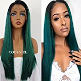 COOLGIRL Synthetic Lace Front Wigs Green Mix Blue Hair Wig Ombre Green Color Straight Hair Wigs Dark Root Heat Resistant Fiber Hair for Black Woman Natural Baby Hair Line
