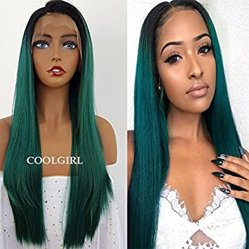 Amazon Com Coolgirl Synthetic Lace Front Wigs Green Mix Blue Hair