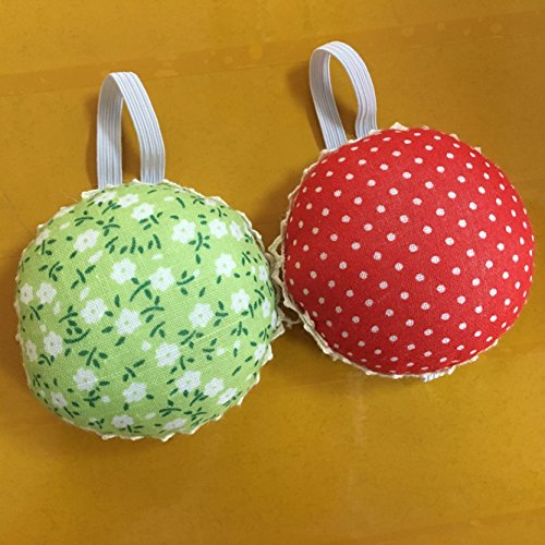 Chris.W Fabric Coated Wrist Wearable Sewing Pin Cushions Needles Pincushions for Handy Needlework DIY Craft, Pack of 2(Red Dot + Green Flower)