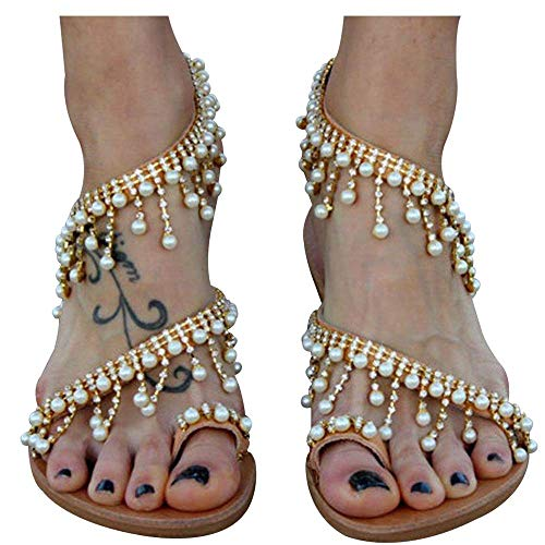 Xiakolaka Womens Sandals Flat,Beaded Toe Ring Casual Wedding Pearl Shoes Gold 40