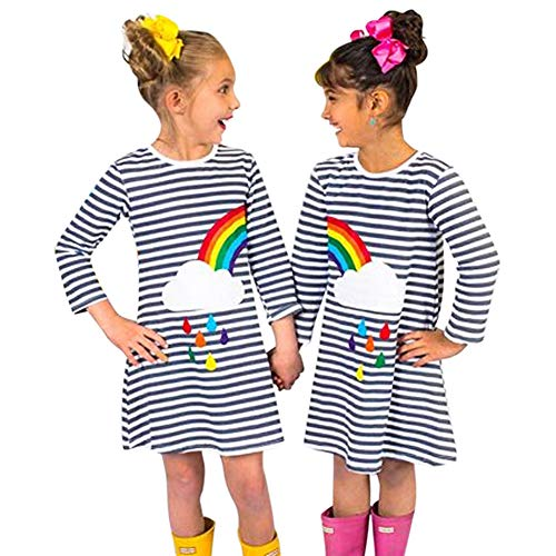 (Toddle Kids Girl Rainbow Striped Dress Little Big Sister Sibling Clothes Outfit (5-6 T, Sister)