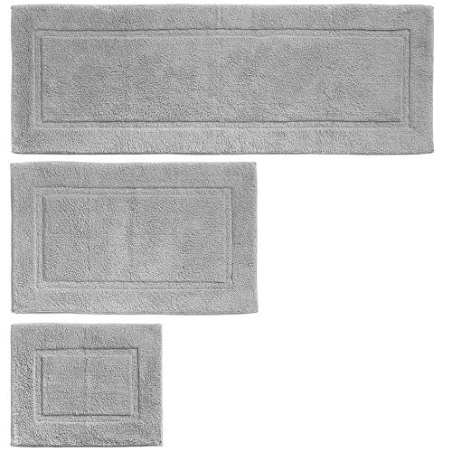 mDesign 100% Cotton Luxury Spa Mat Rugs, Plush Water Absorbent, Decorative Border - for Bathroom Vanity, Bathtub/Shower, Machine Washable - Runner, Standard & Small Rug - Set of 3 - Gray