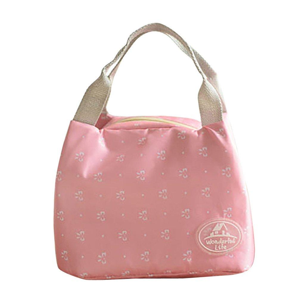 Insulated Lunch Bag,Vanvler Bottle Thermal Cooler Bag Canvas Food Box Tote for Women Kids (23.5/15.5/30cm, A)
