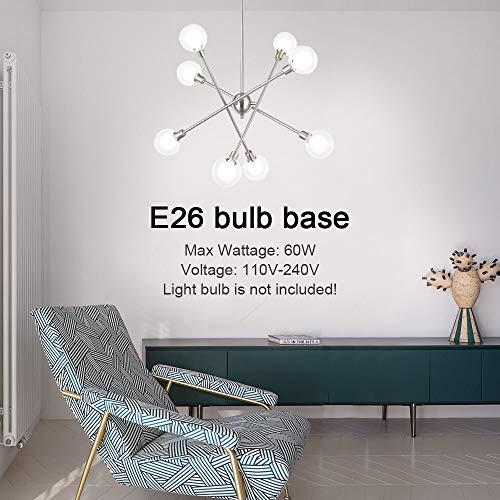 VINLUZ Sputnik Chandelier 8 Light Brushed Nickel Finish Modern Pendant Lighting Mid-Century Light Fixtures Ceiling Hanging for Dining Room Bed Room Kitchen Room 8 Bulbs Included