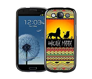 Classic Samsung Galaxy S3 Case Durable Soft Silicone TPU Hakuna Matata on Sunset Lion King Black Cell Phone Case Cover
